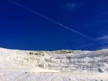 Καθαρός-άσπρο καυτό βουνό άνοιξη σε Pamukkale Στοκ εικόνα με δικαίωμα ελεύθερης χρήσης