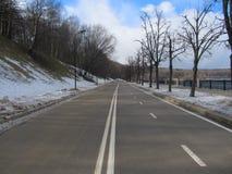Καθαρός δρόμος στο χειμερινό πάρκο Στοκ Εικόνες