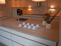 καθαρός σύγχρονος καθιερώνων τη μόδα ξύλινος γραμμών κουζινών σχεδίου Στοκ Φωτογραφίες