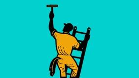 Καθαρότερος καθαρισμός εργαζομένων παραθύρων στη σκάλα διανυσματική απεικόνιση