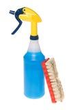 καθαρότερος ψεκασμός βουρτσών μπουκαλιών στοκ φωτογραφία