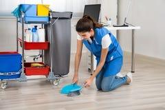 Καθαρότερο σκουπίζοντας πάτωμα με τη σκούπα και Dustpan στην αρχή Στοκ Εικόνες