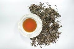 Καθαρό άσπρο φλυτζάνι του τσαγιού και του ξηρού φύλλου τσαγιού στοκ εικόνες