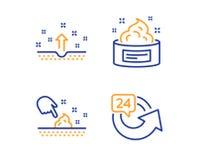 Καθαρό δέρμα, υγρασία δερμάτων και εικονίδια 24 ωρών καθορισμένες Καλλυντικά, υγρή κρέμα, ιατρικό καλλυντικό επαναλάβετε Σύνολο ο ελεύθερη απεικόνιση δικαιώματος