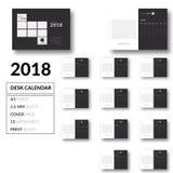 Καθαρό διάνυσμα σχεδίου 2018 ημερολογιακών προτύπων γραφείων διανυσματική απεικόνιση