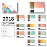 Καθαρό διάνυσμα σχεδίου 2018 ημερολογιακών προτύπων γραφείων απεικόνιση αποθεμάτων