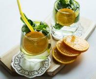 Καθαρό πόσιμο νερό με το πορτοκάλι και τη μέντα Στοκ φωτογραφία με δικαίωμα ελεύθερης χρήσης