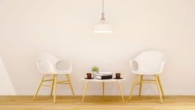 Καθαρό σχέδιο περιοχής καφέδων ή βιβλιοθήκης - τρισδιάστατη απόδοση Στοκ Εικόνες