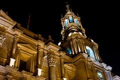 Καθεδρικός ναός βασιλικών Arequipa τη νύχτα Στοκ φωτογραφίες με δικαίωμα ελεύθερης χρήσης