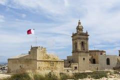 Καθεδρικός ναός και σημαία της Μάλτας Στοκ εικόνες με δικαίωμα ελεύθερης χρήσης