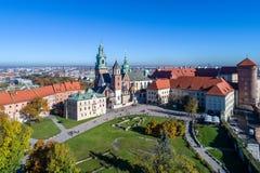 καθεδρικός ναός Κρακοβία Πολωνία wawel Εναέρια άποψη στο φως ηλιοβασιλέματος Στοκ φωτογραφίες με δικαίωμα ελεύθερης χρήσης