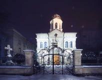 Καθεδρικός ναός μεταμόρφωσης με το χιόνι Στοκ Εικόνα