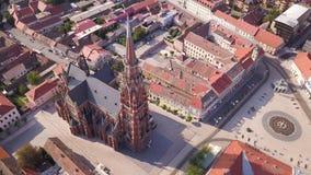Καθεδρικός ναός στην πόλη του Όσιγιεκ Κροατία από τον ουρανό απόθεμα βίντεο