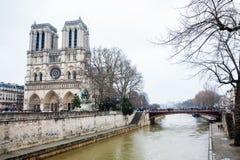 Καθεδρικός ναός της κυρίας Παρισιού μας και ο ποταμός του Σηκουάνα σε μια παγώνοντας χειμερινή ημέρα αμέσως πριν από την άνοιξη στοκ φωτογραφία με δικαίωμα ελεύθερης χρήσης