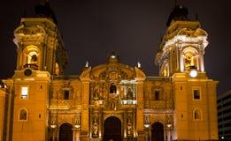 Καθεδρικός ναός της Λίμα Περού τη νύχτα Στοκ φωτογραφίες με δικαίωμα ελεύθερης χρήσης