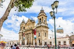 Καθεδρικός ναός της πόλης της Γουατεμάλα Plaza de Λα Constitucion, Guatema στοκ εικόνες