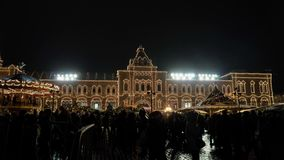 Καθεδρικός ναός του βασιλικού του ST, χειμερινό βράδυ Μόσχα Ρωσία απόθεμα βίντεο