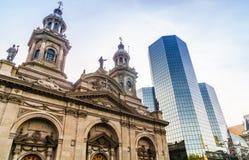 Καθεδρικός ναός του Σαντιάγο Plaza de Armas στο Σαντιάγο de Χιλή Στοκ φωτογραφία με δικαίωμα ελεύθερης χρήσης