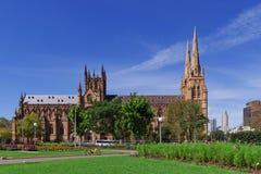 Καθεδρικός ναός του ST Mary στην πόλη του Σίδνεϊ στοκ εικόνα