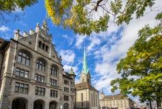 Καθεδρικός ναός Fraumuenster και Stadthaus, Ζυρίχη, Ελβετία Στοκ εικόνες με δικαίωμα ελεύθερης χρήσης