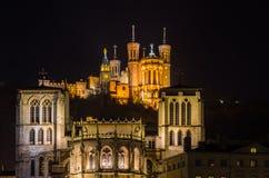 Καθεδρικός ναός Άγιος-Jean-Baptiste και Basilica de Fourvier Στοκ Φωτογραφίες