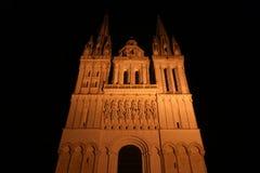 Καθεδρικός ναός Άγιος-Maurice τη νύχτα, Angers στη Γαλλία Στοκ Φωτογραφίες