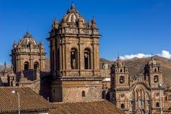Καθεδρικός ναός και κοινωνία του Ιησού Church Bell Towers Cuzco Περού Στοκ Φωτογραφίες