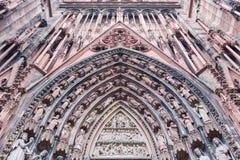 Καθεδρικός ναός προσόψεων της κυρίας μας στο Στρασβούργο, Αλσατία Στοκ φωτογραφίες με δικαίωμα ελεύθερης χρήσης