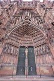 Καθεδρικός ναός προσόψεων της κυρίας μας στο Στρασβούργο, Αλσατία Στοκ Εικόνες