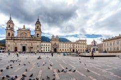 Καθεδρικός ναός στο τετράγωνο bolívar στη Μπογκοτά, Κολομβία στοκ φωτογραφίες με δικαίωμα ελεύθερης χρήσης