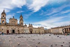 Καθεδρικός ναός στο τετράγωνο bolívar στη Μπογκοτά, Κολομβία στοκ εικόνες με δικαίωμα ελεύθερης χρήσης