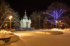 Καθεδρικός ναός στο χειμερινό τοπίο ανασκόπησης Στοκ φωτογραφία με δικαίωμα ελεύθερης χρήσης