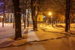Καθεδρικός ναός στο χειμερινό τοπίο ανασκόπησης Στοκ Εικόνες