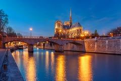Καθεδρικός ναός της Παναγίας των Παρισίων τη νύχτα, Γαλλία Στοκ Εικόνες