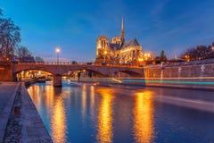 Καθεδρικός ναός της Παναγίας των Παρισίων τη νύχτα, Γαλλία Στοκ φωτογραφία με δικαίωμα ελεύθερης χρήσης