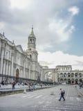 Καθεδρικός ναός της πόλης Arequipa στο Περού Στοκ Φωτογραφίες