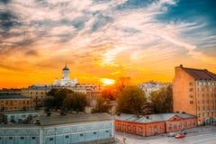 Καθεδρικός ναός του Ελσίνκι, Ελσίνκι, Φινλανδία Βράδυ θερινού ηλιοβασιλέματος Στοκ φωτογραφίες με δικαίωμα ελεύθερης χρήσης