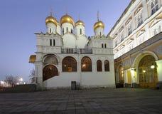 Καθεδρικός ναός του Annunciation sobor Blagoveschensky τη νύχτα Τετράγωνο καθεδρικών ναών, μέσα της Μόσχας Κρεμλίνο, Ρωσία Στοκ Εικόνα