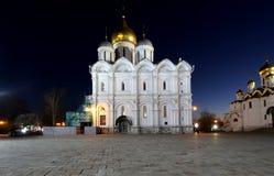 Καθεδρικός ναός του Annunciation sobor Blagoveschensky τη νύχτα Τετράγωνο καθεδρικών ναών, μέσα της Μόσχας Κρεμλίνο, Ρωσία Στοκ φωτογραφίες με δικαίωμα ελεύθερης χρήσης