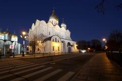 Καθεδρικός ναός του Annunciation sobor Blagoveschensky τη νύχτα Τετράγωνο καθεδρικών ναών, μέσα της Μόσχας Κρεμλίνο, Ρωσία Στοκ Φωτογραφία