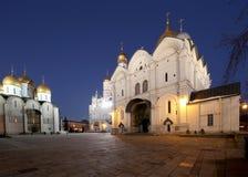 Καθεδρικός ναός του Annunciation sobor Blagoveschensky τη νύχτα Τετράγωνο καθεδρικών ναών, μέσα της Μόσχας Κρεμλίνο, Ρωσία Στοκ Φωτογραφίες