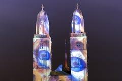 Καθεδρικός ναός Grossmunster τη νύχτα Στοκ φωτογραφία με δικαίωμα ελεύθερης χρήσης