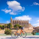 Καθεδρικός ναός Seu Palma Majorca και ποδήλατο Μαγιόρκα Στοκ Φωτογραφία