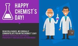 Καθηγητής ημέρας φαρμακοποιών έννοιας και βοηθητικό χαμόγελο απεικόνιση αποθεμάτων