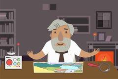 Καθηγητής-ιστορικός στο γραφείο Ζωντανεψοντας χαρακτήρας απεικόνιση αποθεμάτων
