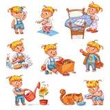 Καθημερινές στερεότυπες δραστηριότητες παιδιών κινούμενων σχεδίων καθορισμένες διανυσματική απεικόνιση