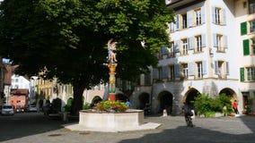καθημερινή ζωή στις ελβετικές οδούς, Ελβετία απόθεμα βίντεο