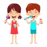 Καθημερινή οδοντική υγιεινή Δόντια βουρτσίσματος αγοριών και κοριτσιών διανυσματική απεικόνιση
