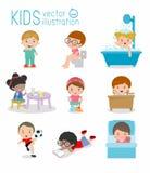 Καθημερινή στερεότυπη, καθημερινή ρουτίνα των ευτυχών παιδιών, υγεία και υγιεινή, καθημερινές ρουτίνες για τα παιδιά, καθημερινή  ελεύθερη απεικόνιση δικαιώματος