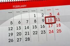 Καθημερινό απομονωμένο μήνας στις 10 Φεβρουαρίου ημερολογιακών χρονοπρογραμματιστών 2018 Στοκ Εικόνες